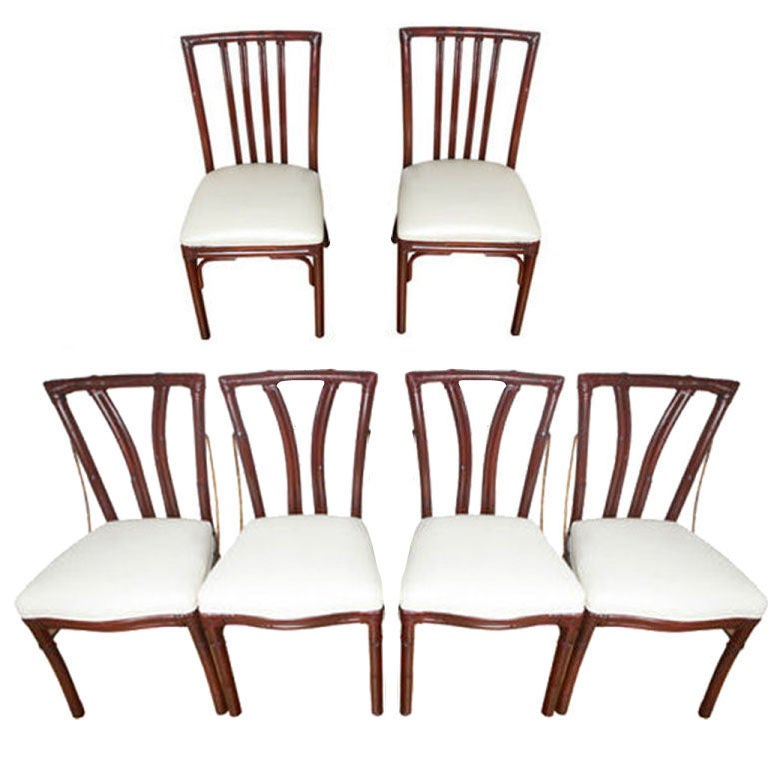 6 mcguire bamboo dining chairs at 1stdibs