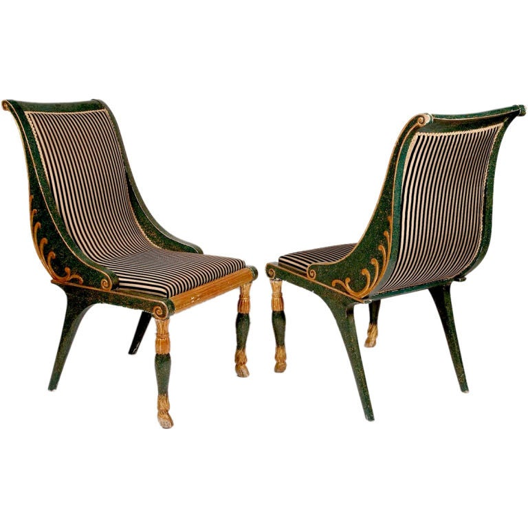 A Pair Of Period French Chairs With Missoni Fabric At 1stdibs: Pair Of French Empire Style Painted Chairs At 1stdibs