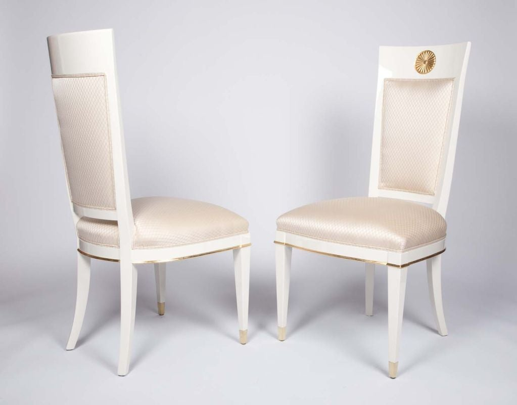 this set of 4 italian lacquered side chairs by albano is no longer