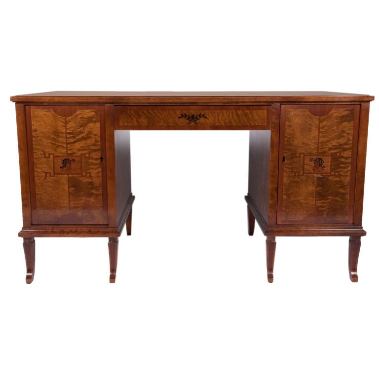 Swedish Art Deco Exotic Wood Inlay Desk by Anders Lundberg For Sale