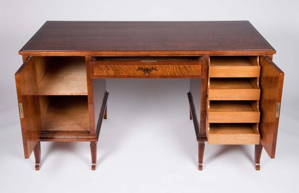 Swedish Art Deco Exotic Wood Inlay Desk by Anders Lundberg 2