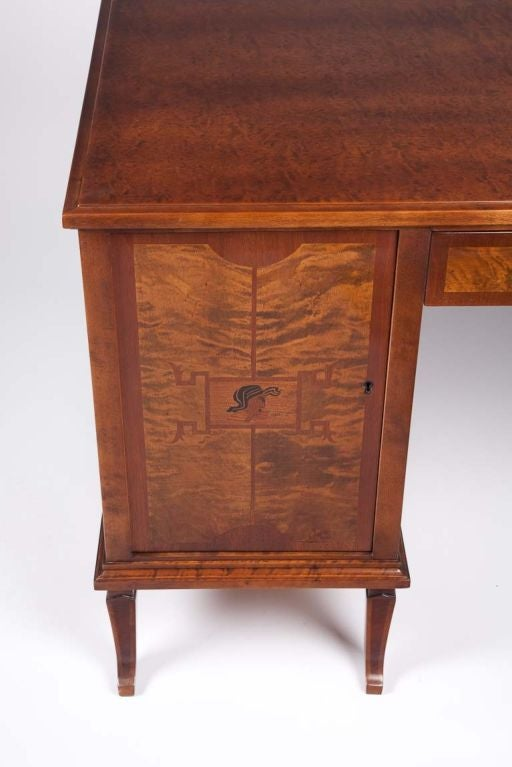 Swedish Art Deco Exotic Wood Inlay Desk by Anders Lundberg 5