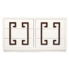 Kittinger Almond Lacquered Dresser with Greek Key Front