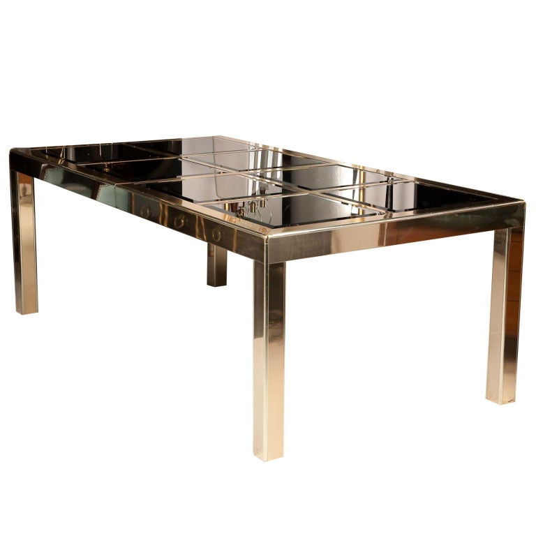 Mastercraft Brass Dining Table With Bronze Mirror Insets At 1stdibs