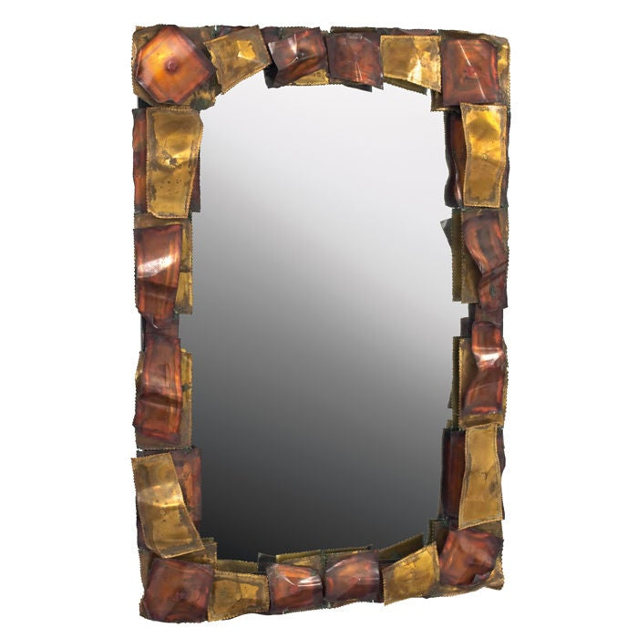 Brutalist Mixed Metal Framed Mirror