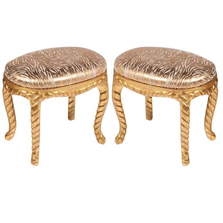 Pair of Gilt Carved Rope Motif  Stools with Stenciled Pony Seats 1
