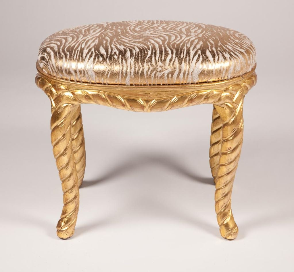 Pair of Gilt Carved Rope Motif  Stools with Stenciled Pony Seats image 2