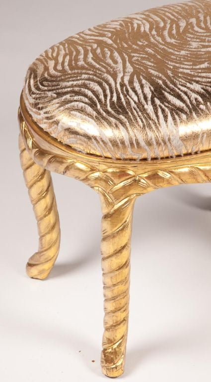 Pair of Gilt Carved Rope Motif  Stools with Stenciled Pony Seats 3