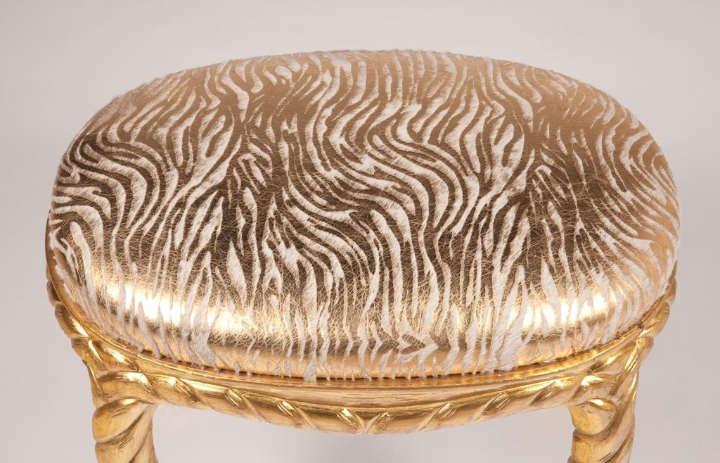 Pair of Gilt Carved Rope Motif  Stools with Stenciled Pony Seats 5