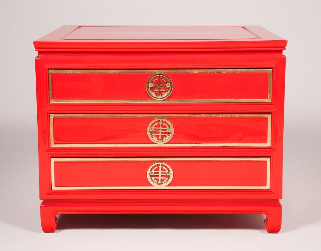 Pair of baker chinese red lacquer side chests at 1stdibs