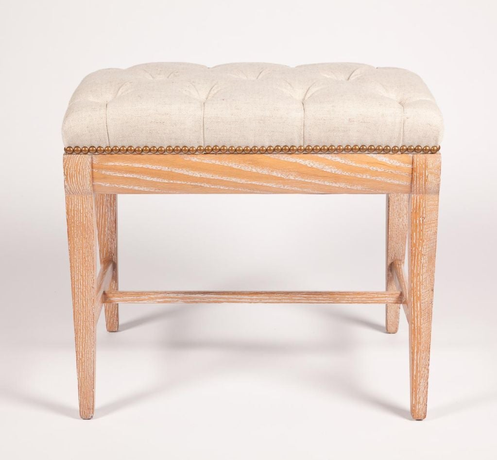 Cerused Oak Bench With Tufted Seat At 1stdibs