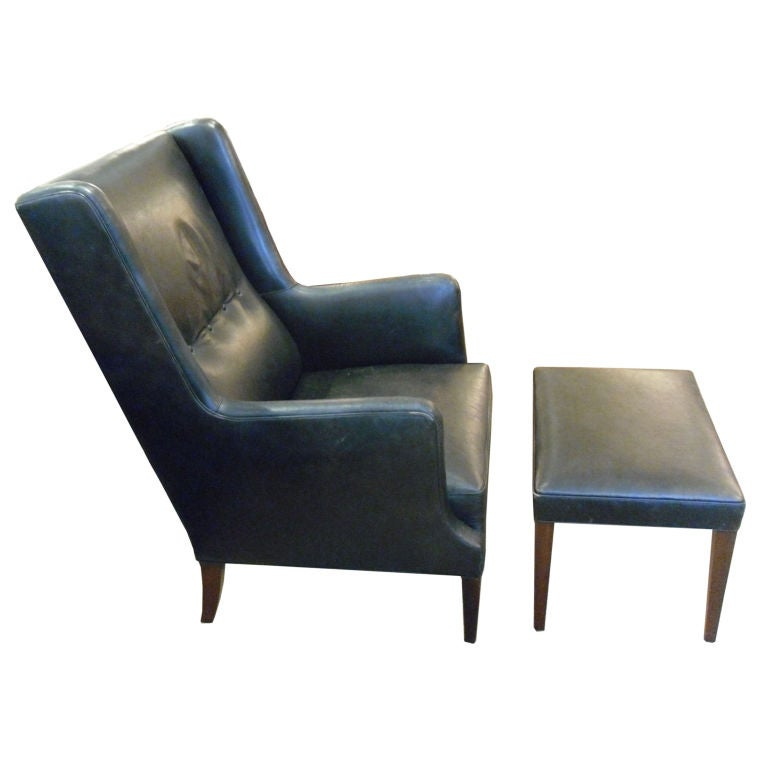 Black Leather Wingback Chair with Ottoman at 1stdibs