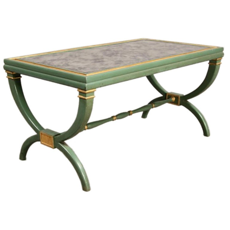 Green And Gilt Coffee Table With Smoked Glass Style Of