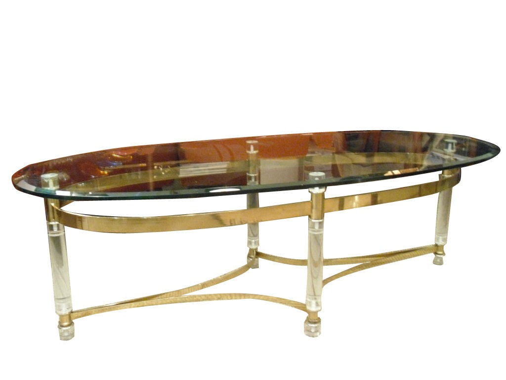 Lucite And Brass Coffee Table At 1stdibs