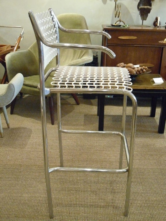 antique bar stools set of 4 thonet bar stools in chrome and enameled mesh at 1256