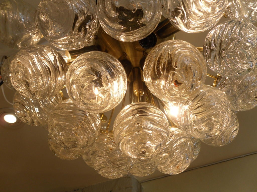 Mouth Blown Glass Sputnik Style Flushmount Ceiling Light