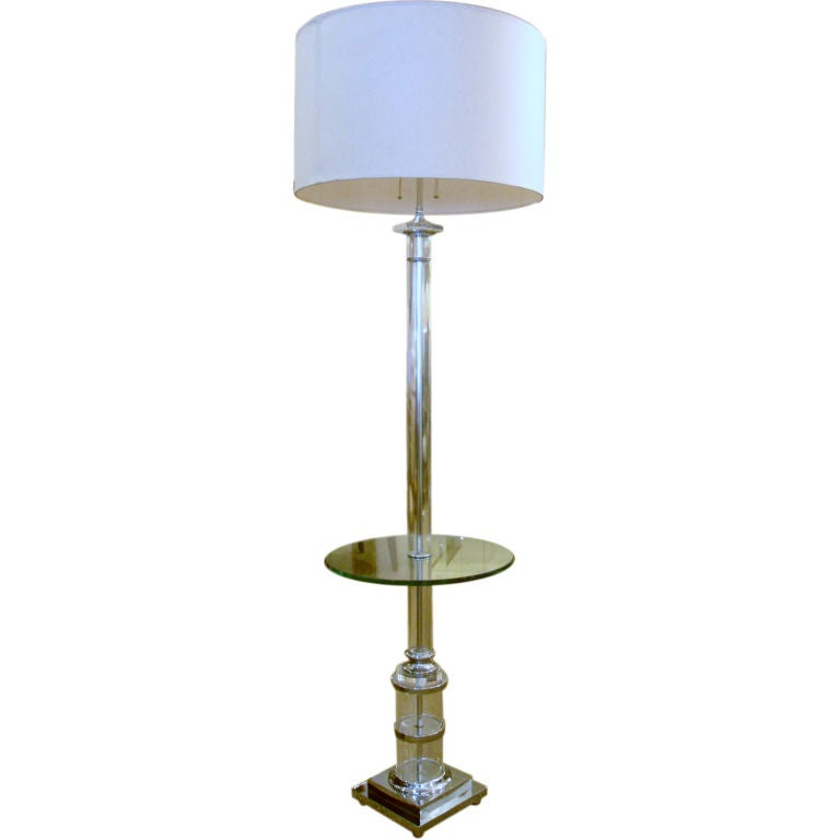 Chrome And Glass Standing Floor Lamp With Table At 1stdibs