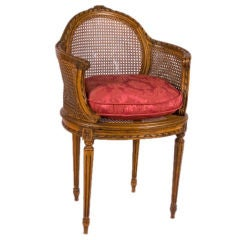 Louis XVI Style Oak and Caned Chair