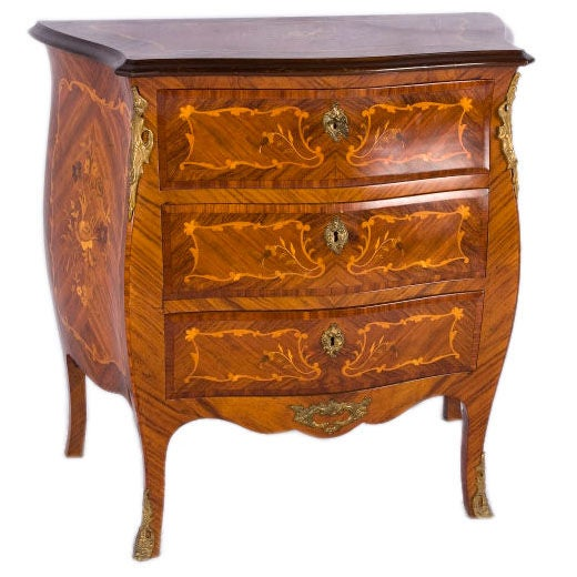 Inlaid Wood Bombe Chest For Sale At 1stdibs