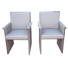 Extremely Rare Chrome Trimmed Armchairs by Milo Baughman
