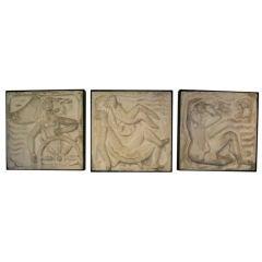 Collection of Nine (9) Cast Stone Art Deco Plaques