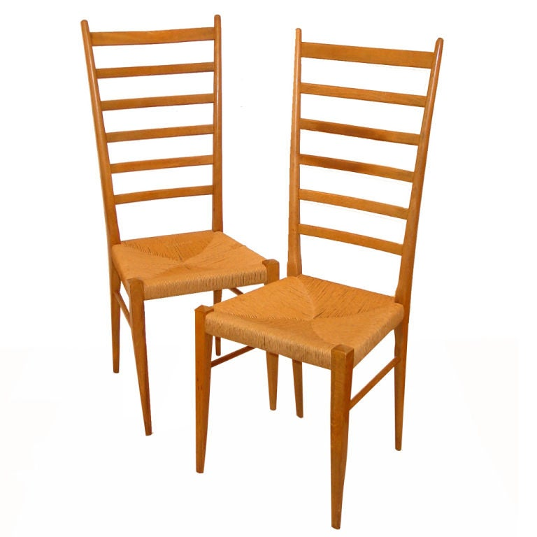 Four Tall  Italian Ladderback  Chairs in the Style of Gio  Ponti