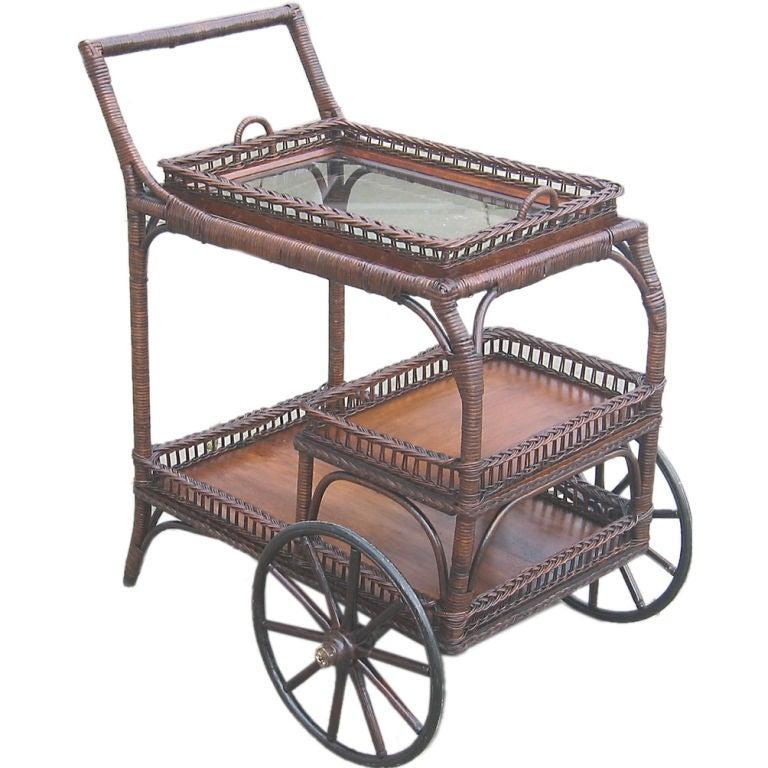 Wicker Tea Cart At 1stdibs