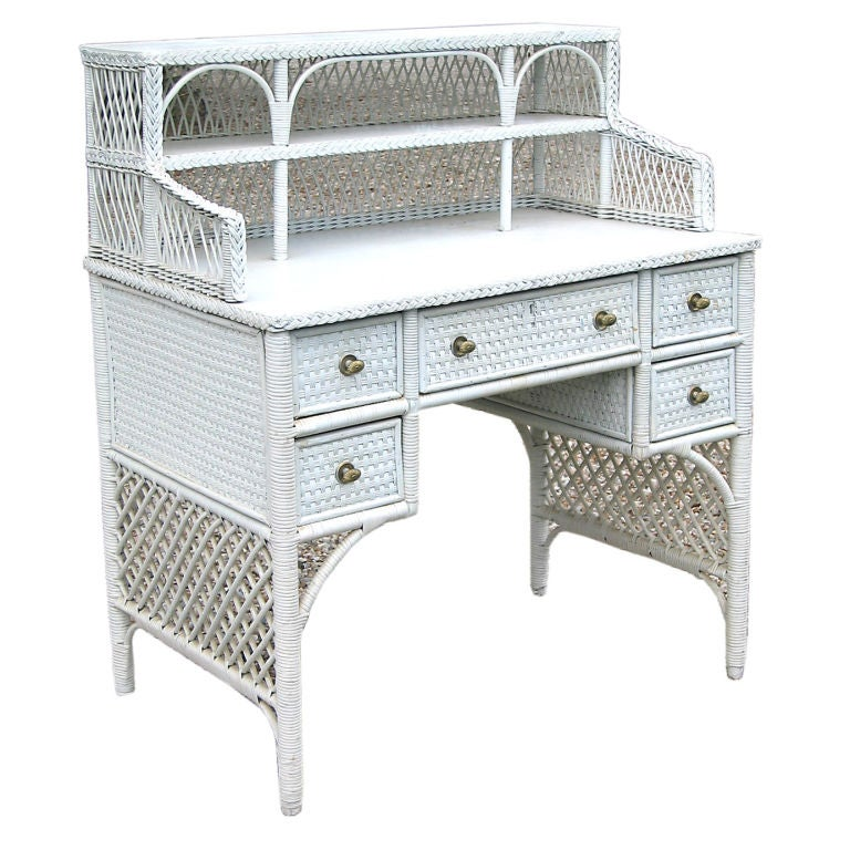 Bar Harbor Wicker Desk At 1stdibs