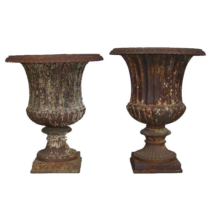 2 Cast Iron Classical Garden Urns 1