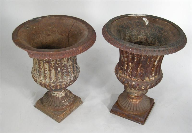 2 Similar Cast Style Garden Urns With Gadrooned Edge, Fluted Body On  Pedestal Base With