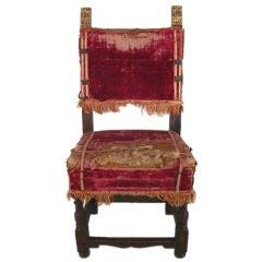 17th C. Italian Walnut & Gilwood Chair