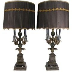 Pair of Large Glass & Metal Lamps on Marble Bases