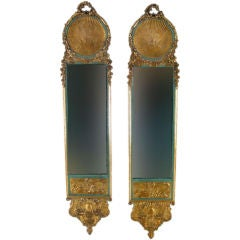 Pair of Louis XV Style Gilded & Painted Narrow Mirrors