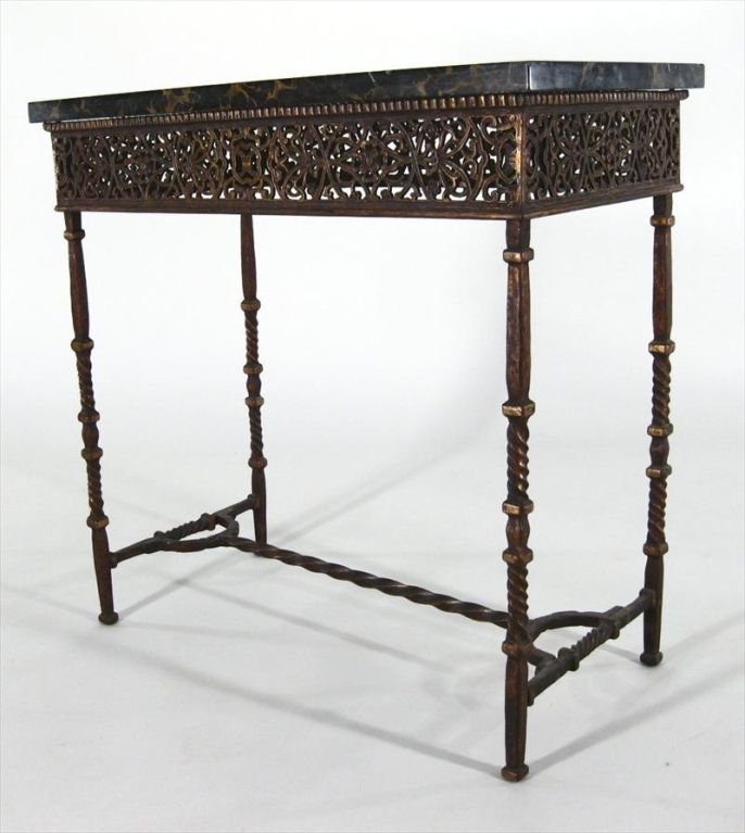 Cast iron and marble top side table at 1stdibs for Cast iron end table