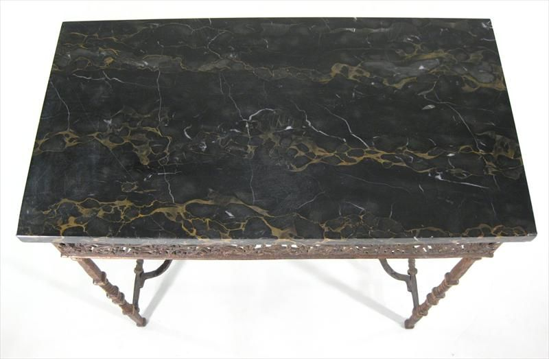 Cast Iron And Marble Top Side Table At 1stdibs