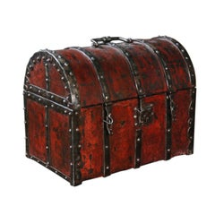 A 16th/17th Century Style French Red Lacquered Small Chest