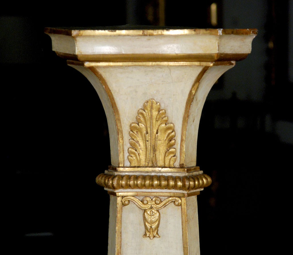 19th Century A Pair of Italian Piedmontese Painted and Gilded Pedestals For Sale