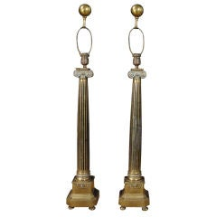 A Pair of Neoclassic Brass Columns with Capitals now as Lamps