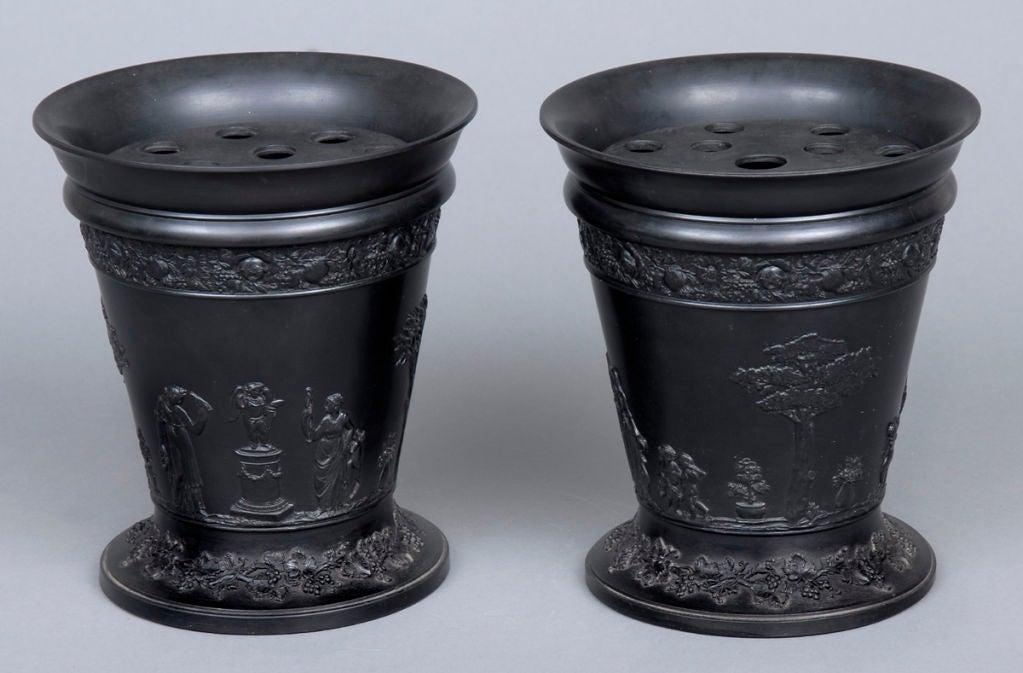 Basalt Flower Pots : English pair wedgwood basalt bough pots at stdibs