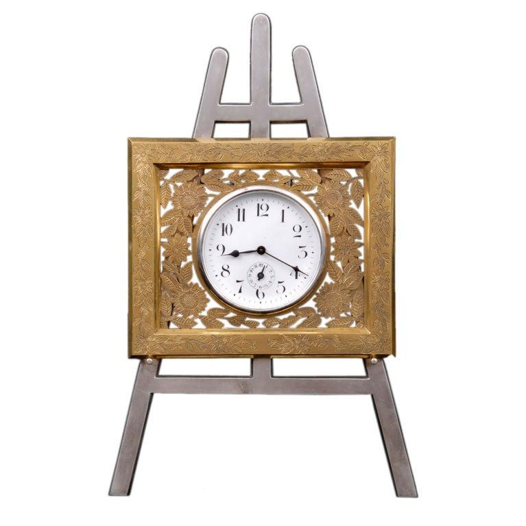 English Gilded Easel Clock