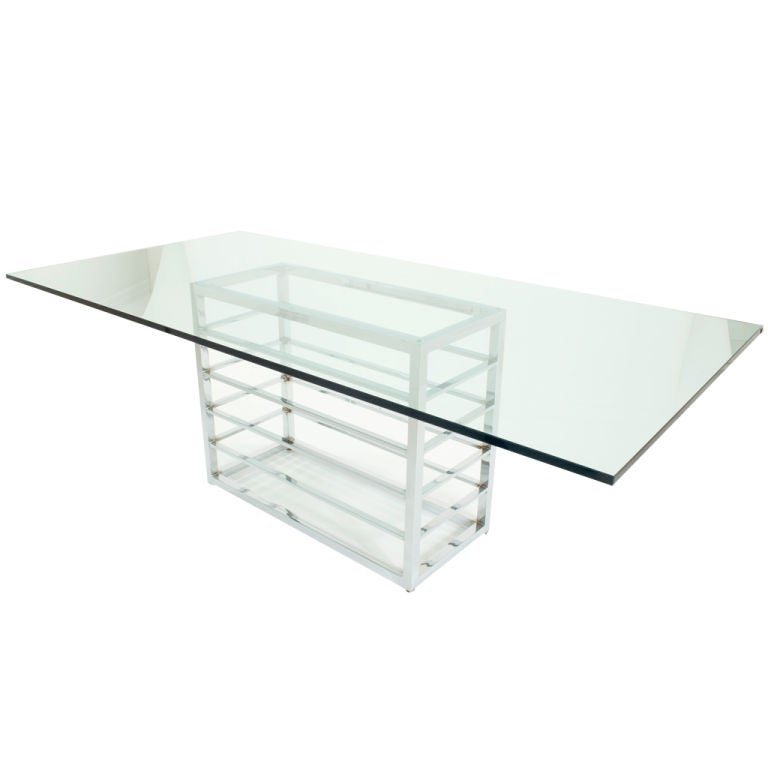 large glass topped chrome dining table at 1stdibs