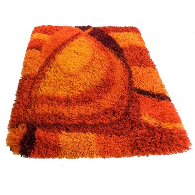 vibrant burnt orange and rust rya rug at 1stdibs