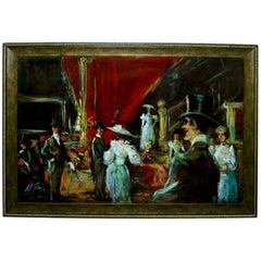 Wonderful Oil Board of 19th Century Gala by Noted Alberto Ruiz Vela