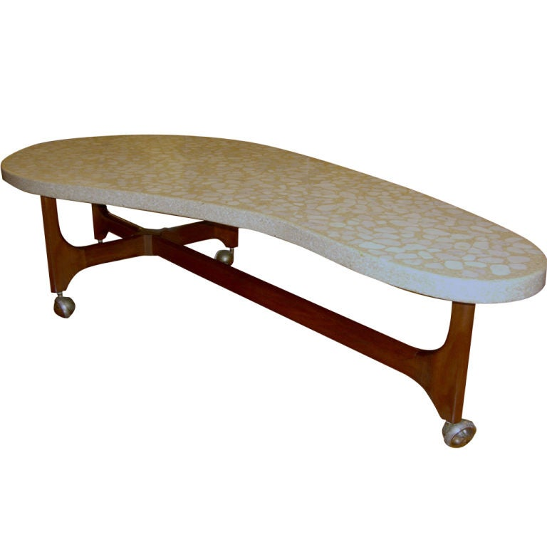 Harvey Probber Terrazzo Top And Walnut Bimorphic Coffee Table At 1stdibs