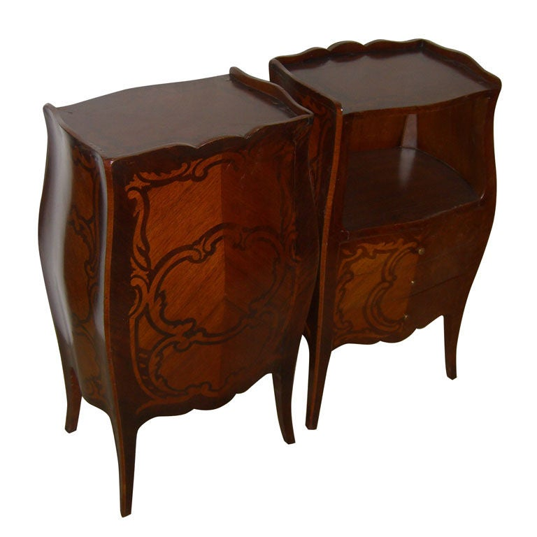 Pair Of Marqeutry Inlaid Bombay French Night Stands End
