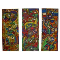 Vibrant set of three acrylic on canvases by Paul Raguenes 1992