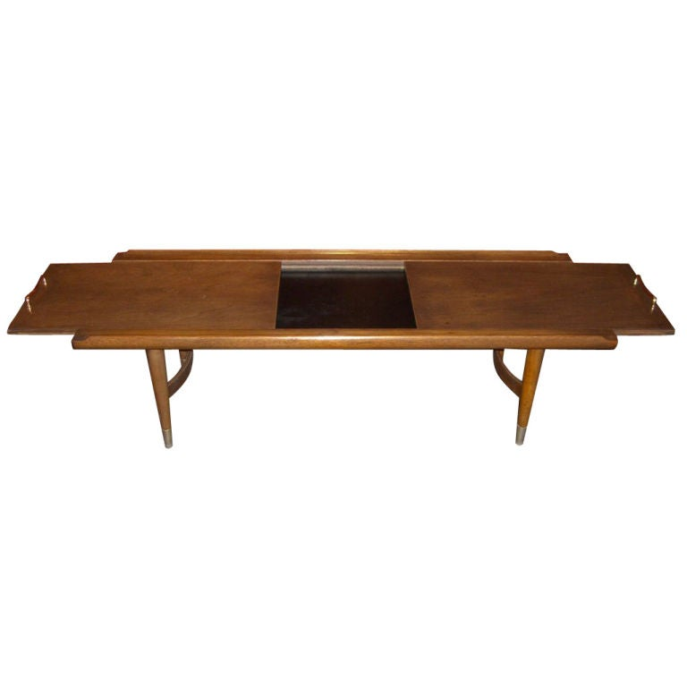 Unusual walnut coffee table w slide our tops and melamine for Coffee tables quirky