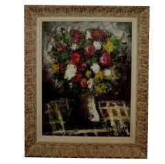 Nice frame heavy impasto oil floral still life illegibly signed