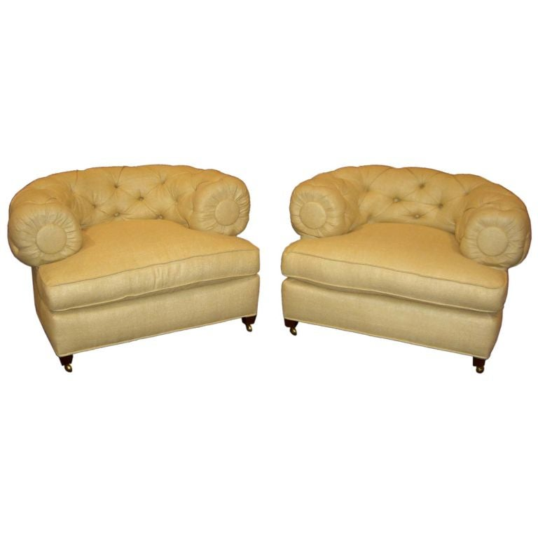 Hollywood Regency 1950 39 S Tomlinson Overstuffed Chairs In Silk At 1stdibs