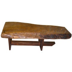 American Craftsman 1970's redwood bench with rosewood dovetail